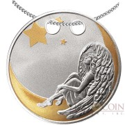Republic of Cameroon LOVE ANGEL 500 Francs Silver Coin-Trinket 2018 Gold plated Manually sculptured With chain Proof