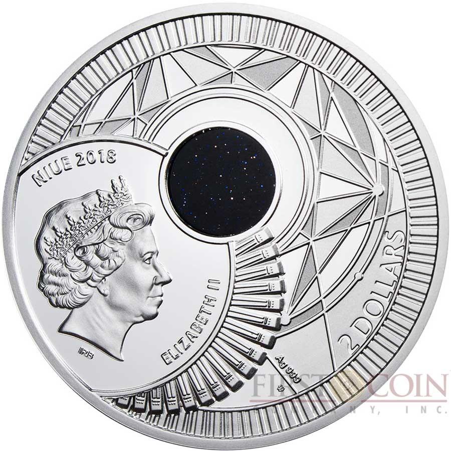 Niue Island EYE OF HORUS $2 Silver Coin 2018 Goldstone Night in Cairo Proof 2 oz