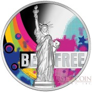 Republic of Cameroon BE FREE FREEDOM STATUE of LIBERTY NEW YORK 2000 Francs Silver Coin 2018 High Relief Proof 2 oz