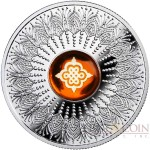 Niue Island ETERNAL KNOT $1 Silver Coin 2018 Amber with intaglio Proof