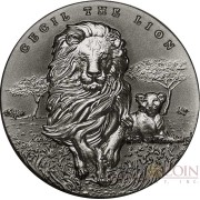 Republic of Cameroon CECIL THE LION 2000 Francs Silver Coin 2018 High Relief Antique finish 2 oz