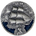 Republic of Cameroon QUEEN ANNE'S REVENGE series GOLDEN AGE OF SAIL 2000 Francs Silver coin High relief 2019 Antique finish 2 oz