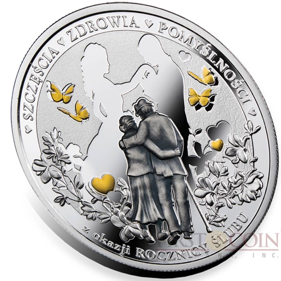 Niue Island WEDDING ANNIVERSARY $1 Silver Coin 2018 Gold plated Proof-Antique finish