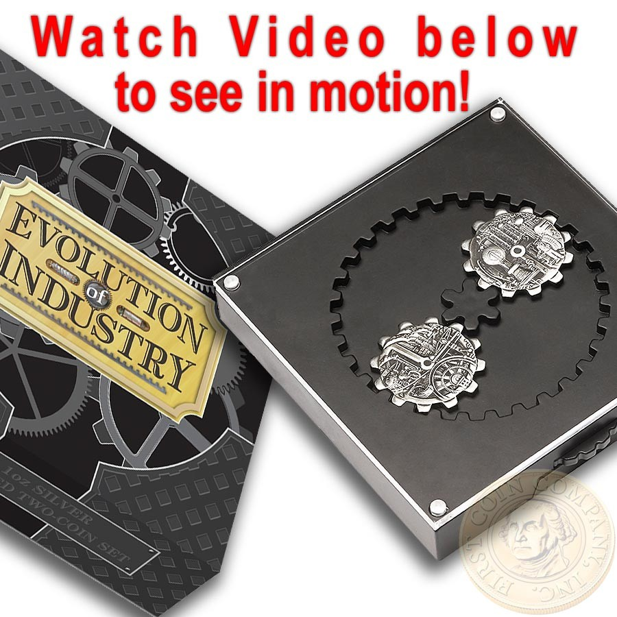2oz 2018 EVOLUTION OF INDUSTRY 1oz Antiqued SILVER GEAR-SHAPED TWO-COIN SET