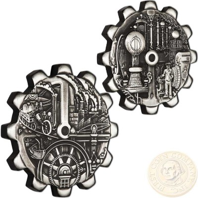 Tuvalu EVOLUTION OF INDUSTRY 2-COIN Silver Set Gear-shaped $2 Antique finish 2018 Rotating Mechanism 2 oz