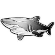 Solomon Islands GREAT WHITE SHARK series HUNTERS OF THE DEEP $2 Silver Coin 2019 Shark shaped Proof 1 oz