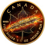Canada 2nd APOCALYPSE $5 Canadian Maple Leaf Silver Coin 2017 Black Ruthenium and Gold plated 1 oz