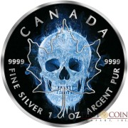 Canada ICE SKULL $5 Canadian Maple Leaf Silver coin 2017 Black Ruthenium 1 oz