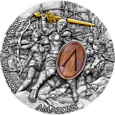 Niue Island AMAZONS series WOMAN WARRIOR $5 Silver Coin 2019 Antique finish Ultra High Relief Wooden shield Gold plated 2 oz