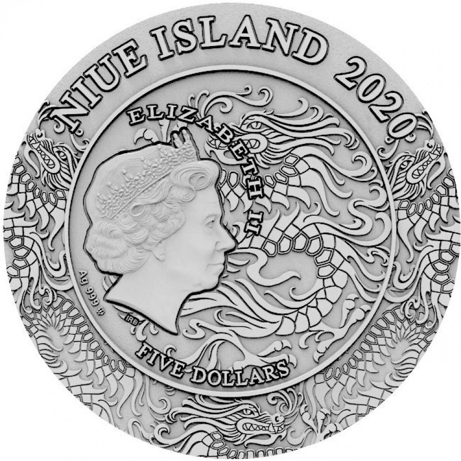 Niue Island ZHUGE LIANG series FAMOUS CHINESE WARRIORS Silver Coin $5 Antique finish 2020 Ultra High Relief Gold plated 2 oz
