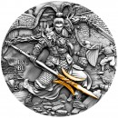 Niue Island LYU BU ROMANCE series ANCIENT CHINESE WARRIORS $5 Silver Coin Antique finish Ultra High Relief 2020 Gold plated 2 oz