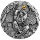 Niue Island HORUS series GODS OF ANGER $5 Silver Coin Antique finish Ultra High Relief 2020 Gold plated 2 oz