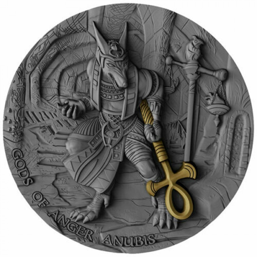 Niue Island ANUBIS series GODS OF ANGER $5 Silver Coin Antique finish Ultra High Relief 2019 Gold plated 2 oz