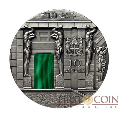 Fiji Malachite Room Imperial Silver coin Masterpieces in Stone Series 3 oz Hermitage Museum St Petersburg $10 Antique finish 2013