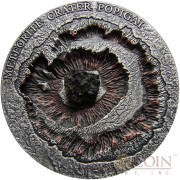 Niue Island CRATER POPIGAI series METEORITE CRATER Silver coin $1 Antique finish 2016 Wavy Ultra High Relief with Real Meteorite Stone 1 oz