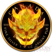 Canada BURNING DEVIL $5 Canadian Maple Leaf Silver coin 2016 Black Ruthenium & Gold Plated 1 oz