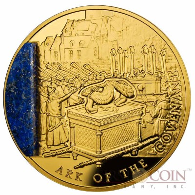 "Niue Ark of the Covenant ""Mysteries of History"" Gold Coin 2013 with Lapis Lazuli insert $100 Proof 2 oz"