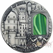 Niue Island SECRETS of PENA PALACE series CRYSTAL ART $2 silver coin Green Crystal 2014 High Relief Antique finish 2 oz
