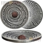 Niue Island VOLCANO ERTA ALE ETHIOPIA series VOLCANOES Silver coin $2 Real lava inlay Ultra High Relief Concave Convex shape 2014 Antique finish 2 oz