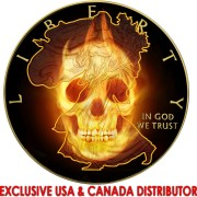 USA BURNING LIBERTY SKULL AMERICAN SILVER EAGLE WALKING LIBERTY $1 Silver coin 2015 Black Ruthenium & Gold Plated 1 oz