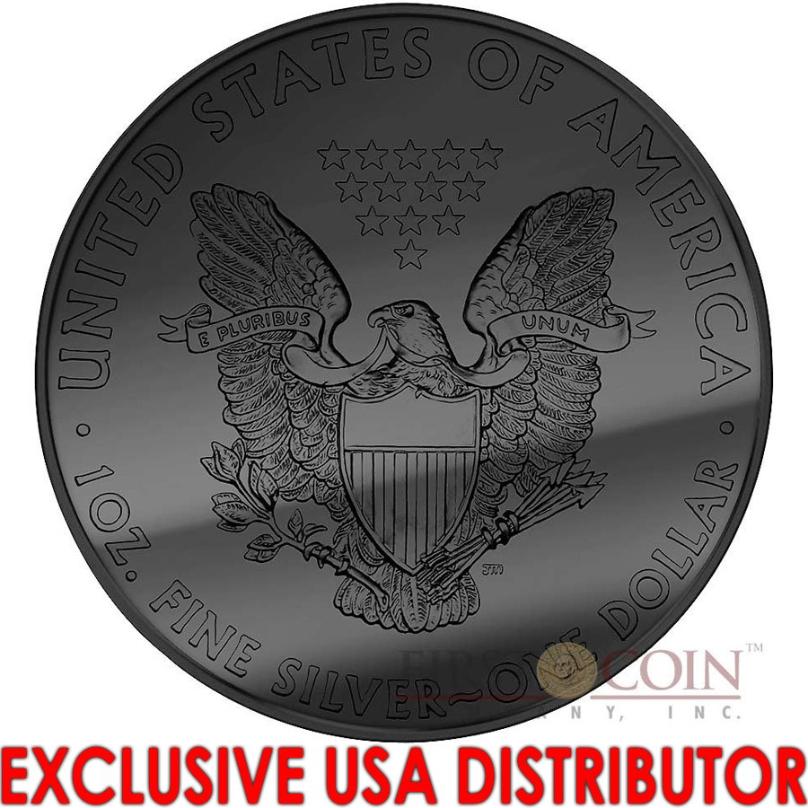 USA ECLIPSE OF THE SUN AMERICAN SILVER EAGLE WALKING LIBERTY 2015 Silver Coin $1 Black Ruthenium & Rose Gold Plated 1 oz