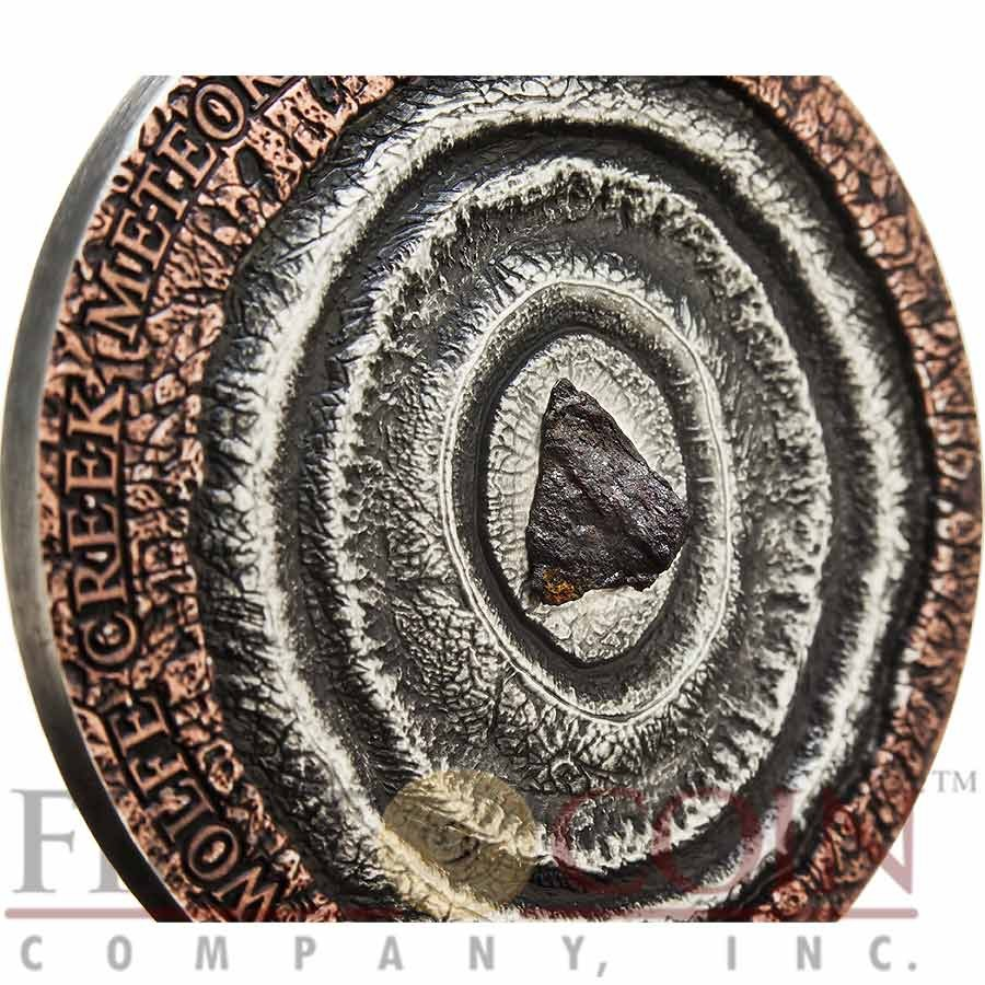 Niue Island WOLFE CREEK series METEORITE CRATER Silver coin $1 Antique finish 2015 Wavy Ultra High Relief with Real Meteorite Stone 1 oz