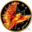 Canada BURNING EAGLE MAPLE LEAF $5 CANADIAN SILVER MAPLE COIN 2016 Black Ruthenium & Gold Plated 1 oz