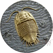Niue Island TRILOBITES Series EVOLUTION OF EARTH Silver Coin $2 Ruthenium and Gold plated 2016 Ultra High Relief 2 oz