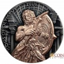 Niue Island ZEUS series GODS OF OLYMPUS $5 Silver Coin 2017 Antique finish Ultra High Relief Rose Gold plated 2 oz
