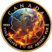 Canada APOCALYPSE MAPLE LEAF $5 Canadian Maple Leaf Silver Coin 2016 Black Ruthenium & Yellow Gold Plated 1 oz