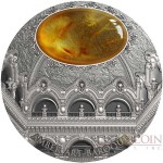 Niue Island BAROQUE series AMBER ART $5 Silver coin 2016 High Relief Antique finish Amber inlay 2 oz