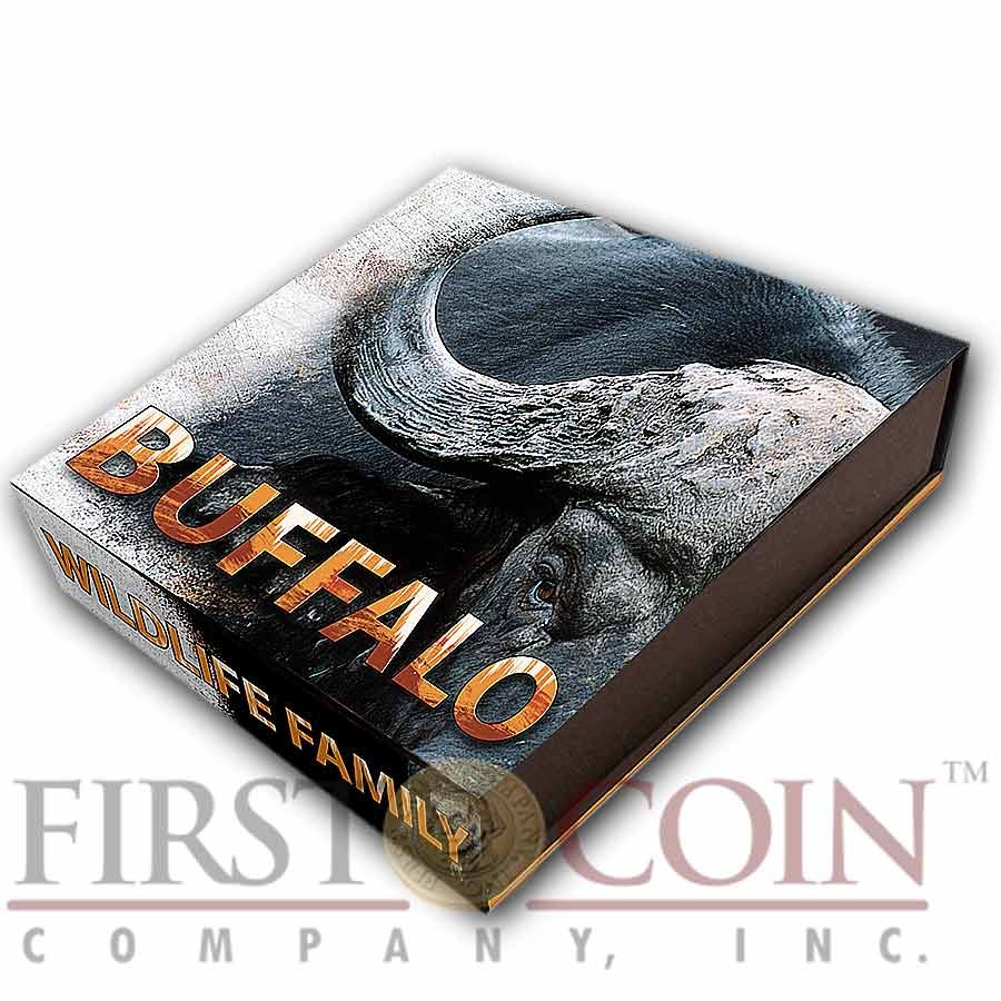 Niue Island BUFFALO of Wildlife Family Series $10 Silver coin 2014 Ultra High Relief Antique finish 4 oz