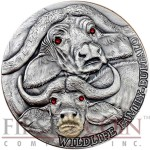 Niue Island BUFFALO of Wildlife Family Series $1 Silver coin 1oz Ultra High Relief Antique Finish Swarovski crystals 2014