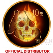 China BURNING PANDA SKULL Silver coin ¥ 10 Yuan 2015 Black Ruthenium & Gold Plated 1 oz