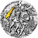 Niue Island CHINGGIS KHAAN MONGOL EMPIRE $5 Silver Coin 2019 Antique finish Ultra High Relief Gold plated 2 oz