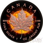 Canada ECLIPSE OF THE SUN $5 Canadian Maple Leaf Silver Coin 2016 Black Ruthenium & Rose Gold Plated 1 oz