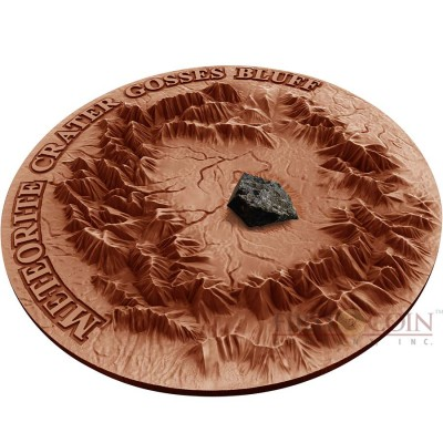 Niue Island CRATER GOSSES BLUFF series METEORITE CRATER Silver coin $1 Antique finish 2017 Unique red copper plated 3D Craters relief Real HENBURY meteorite 1 oz