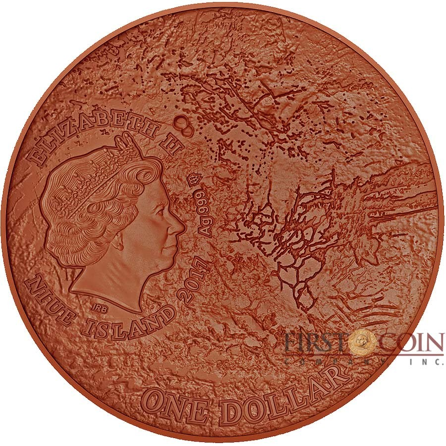 Niue Island MARS series SOLAR SYSTEM $1 Silver coin 2017 Ultra High Relief NWA 7397 Mars meteorite Antique finish Concave Convex shape 1 oz