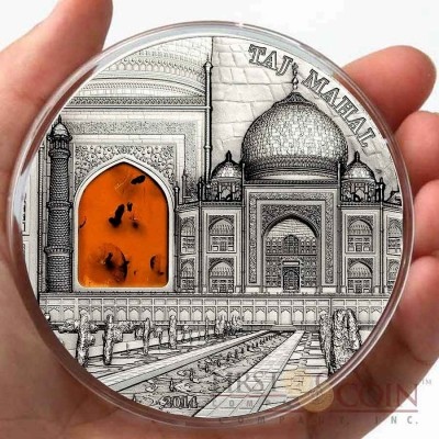 Palau Taj Mahal $2 Mineral Art series Silver coin High Relief Antique finish 2014 Amber inlay 2 oz