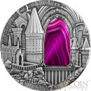 Niue Island MYSTERIES OF HOGWARTS HARRY POTTER series CRYSTAL ART $2 Silver coin Pink Crystal 2015 High Relief Antique finish 2 oz