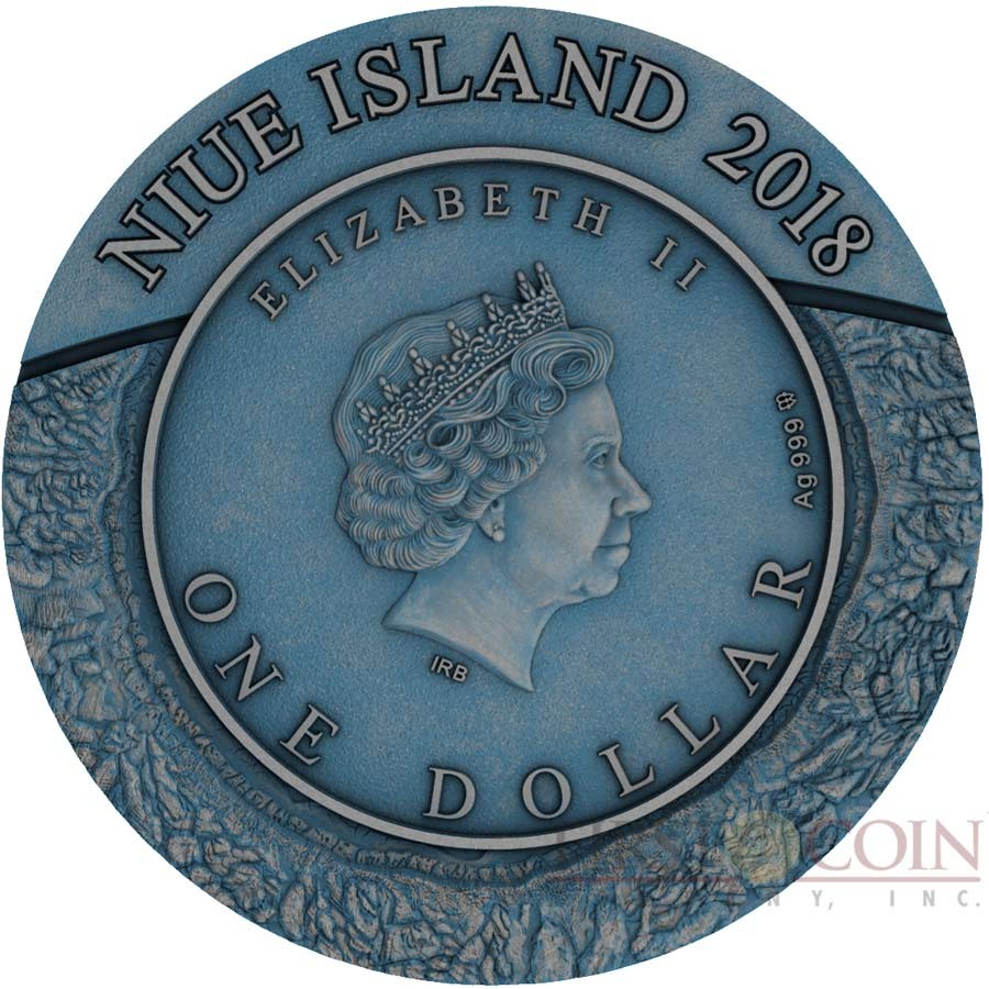 Niue Island CRATER PINGUALUIT CANADA series METEORITE CRATER $1 Silver coin 3D Craters relief Blue Antique finish 2018 Real meteorite 1 oz
