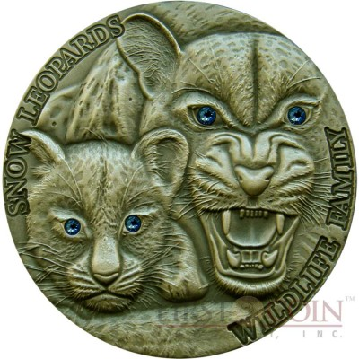 Niue Island SNOW LEOPARDS Series WILDLIFE FAMILY Silver coin $1 Ultra High Relief 2015 Antique Finish 1oz