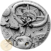 Niue Island SPACE MINING $1 Silver coin 2018 REAL CHONDRITE METEORITE NWA 869 Antique finish Ultra High Relief 1 oz