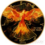 USA BURNING LIBERTY EAGLE AMERICAN SILVER EAGLE WALKING LIBERTY $1 Silver coin 2016 Black Ruthenium & Gold Plated 1 oz