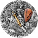Niue Island VALKYRIE series WOMAN WARRIOR $5 Silver Coin 2020 Antique finish Ultra High Relief Wooden shield Gold plated 2 oz