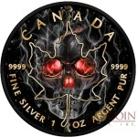 Canada SMOKED SKULL series SKULL MAPLE LEAF $5 Canadian Maple Leaf Silver coin 2018 Black Ruthenium and Gold plated 1 oz