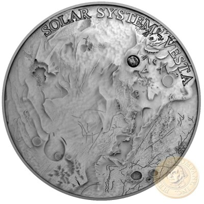 Niue Island VESTA series SOLAR SYSTEM $1 Silver coin 2018 Ultra High Relief Real NWA 4664 Meteorite Antique finish Concave Convex shape 1 oz