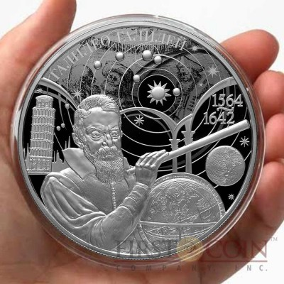 Russia Galileo Galilei 450-th Anniversary 25 Rubles Silver Coin 2014 Proof 5 oz