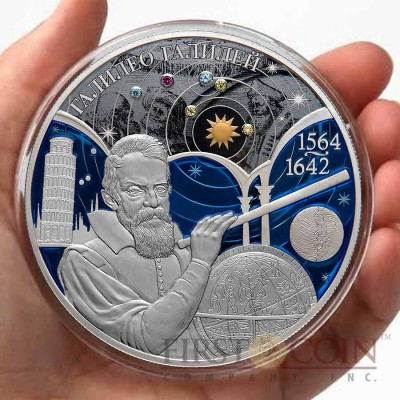Russia Galileo Galilei 450-th Anniversary 25 Rubles Gilded Metallic Colored Silver Coin Swarovski Crystals 2014 Proof 5 oz
