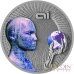 Niue Island ARTIFICIAL INTELLIGENCE series CODE OF THE FUTURE $2 Silver coin 2016 FLUORESCENT UV EFFECT Antique Finish 2 oz